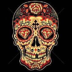 Day of the Dead Red Sugar Skull Print WOMAN'S Tank Top Shirt This is a Premium Quality 100% Spun Cotton Shirt by Anvil TANK TOP INFORMATION: *Graphic on the front of shirt *Graphic Size 11 X 14 inches