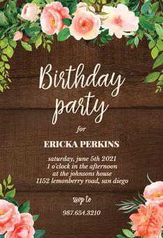 Birthday - Birthday Invitation #invitations #printable #diy #template #birthday #party Free Birthday Invitations, Gift Registry, Create Yourself, Messages, Party, Printable, Island, Diy, Birthday Invitation Templates