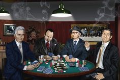 At the head of the table. John Gotti, Al Capone, Carlo Gambino, Charles Luciano.