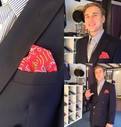Dandy and dapper,our client Daryl waring bespoke blazer ,made to measure shirt and hand made pocket sq from Dandylion style.