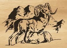 Scroll saw pattern Mountain rams