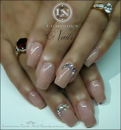 Natural Nude Nails with a little Glitter & Bling...