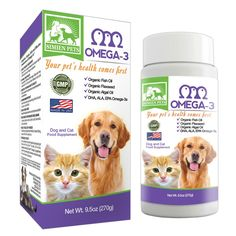 ORGANIC Omega 3 Dogs and Cats - Fish, Algal and Flaxseed Oils - Shinier Coat and Skin - Optimal Heart, Brain and Eye Health - Anti inflammatory and Longevity Formula - DHA, EPA, ALA - Bonus eBook - by SIMIEN ** You can find more details by visiting the image link. (This is an affiliate link and I receive a commission for the sales)
