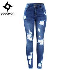 2127 Youaxon Neue Ultra Stretchy Blau Tassel Zerrissene Jeans Frau Jeans  Hosen Für Frauen Bleistift Dünne. Ripped JeansSkinny JeansJeans WomenOfficial  ...