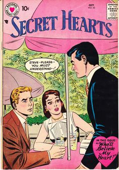 Secret Hearts 42 DC Comics Romantic Gift by LifeofComics Wedding Secret Love Young Romance True Heart Throbs Diary Style Fashion Comics Vintage Vintage Comic Books, Vintage Comics, Romantic Comics, Silver Age Comics, Old Comics, Horror Comics, Comic Book Covers, Girls In Love, Cartoon Drawings