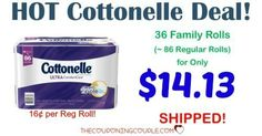 **HOT DEAL ~ AWESOME PRICE**  Stock up on Cottonelle Ultra Care Toilet Paper! Pay only $0.16 per single roll shipped!  Click the link below to get all of the details ► http://www.thecouponingcouple.com/cottonelle-ultracare-family-rolls-stock-up-price/ #Coupons #Couponing #CouponCommunity  Visit us at http://www.thecouponingcouple.com for more great posts!