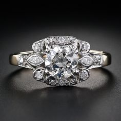 1.00 Carat Late Art Deco Diamond Ring