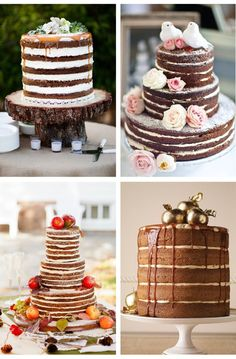 Unfrosted #Wedding #Cakes...hmmmm Maybe. Kinda different. I like the birds