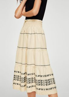 Falda midi costuras - Mujer | MANGO España