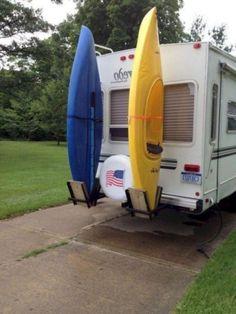 84 Best RV Living & Camper Van Storage Solution Ideas - Page 13 of 85 Kayak Storage Rack, Van Storage, Kayak Rack, Camper Storage, Storage Hacks, Rv Campers, Camper Van, Cheap Rv, Travel Trailer Organization