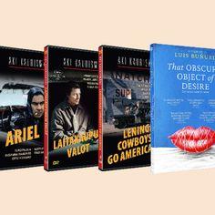 Aki Kaurismäki elokuvat: DVD 17 € ja Blu-ray 22 €. That Obscure Object Of Desire (1977) -DVD, 18 €. Filmihullu-leffakauppa, Sähkötalo katutaso.