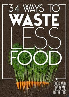 34 Ways To Waste Less Food- Good! I have been really convicted of all the food we waste lately! Saving Tips, Saving Money, Money Savers, No Waste, No Food Waste, Reduce Waste, Do It Yourself Inspiration, Style Inspiration, Happy Earth