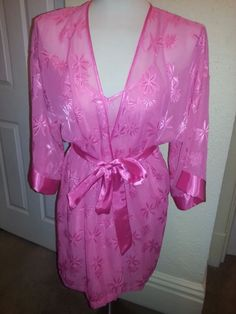 L.A. LA INTIMATES SZ S PINK 2 PC Peignoir Nightgown Set with Wrap/ Robe sheer #LAINTIMATES #RobeGownSets