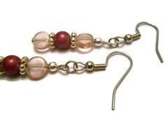 #pink #earrings #beadearrings #rosepink #beadedjewelry #hypoallergenic #handmade #lavender #chicagolandia #chicago #silver #artisan by chicagolandia, $14.00