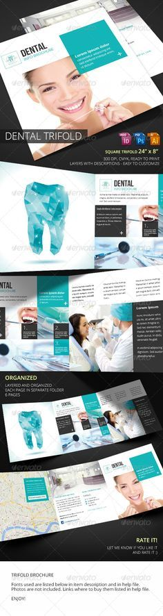 Dental Square Trifold Informational Brochure Template by Piotr_Markowiak. Dental Logo, Dental Art, Dental Office Design, Medical Design, Medical Brochure, Catalog Design, Graphic Design Print, Book Layout, Brochure Design