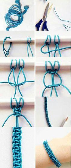 Broken headphone cable creates a beautiful bracelet. :)- Broken headphone cable creates a beautiful bracelet. Diy Crafts Makeup, Diy Makeup, Bracelet Crafts, Jewelry Crafts, Handmade Jewelry, Diy Tresses, Paracord Bracelets, Beaded Bracelets, Survival Bracelets