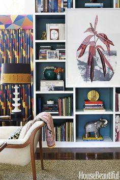 Molly Luetkemeyer LA Home Restoration Hardware Sofa, Leontine Linens, Alabaster Lamp, Hollywood Homes, Back Painting, Custom Sofa, Curtain Patterns, African Mud Cloth, Bookshelves