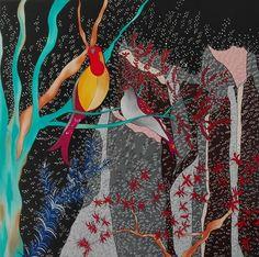 Sonia Strukul, Cinguettio, 2014, acrilico su tela, cm. 100x100