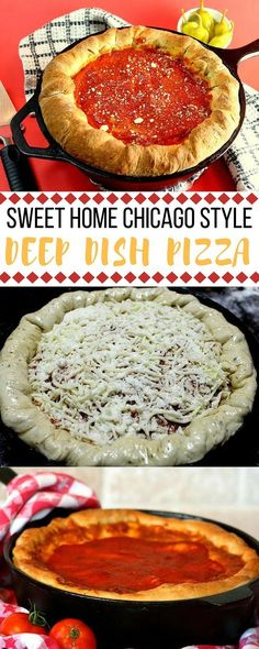 """Why travel to Chicago for authentic deep dish pizza when you can make it at home?! The pizza crust has so much flavor from the garlic and basil and the homemade sauce really shines through. """""""