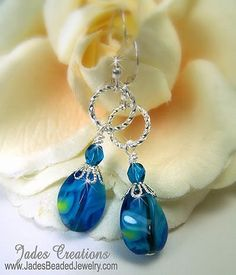 Blue Drop Beaded Earrings