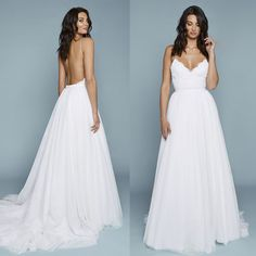 Charming Spaghetti Straps Lace Top Wedding Dresses, Backless Tulle A-L – OkBridal