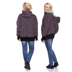 Viva la Mama | Baby Carrying Fleece Jacket QUADRO for backpack baby wearing (4in1- anthracite - mint). QUADRO is similar to our classic TRIO but allows wearing your baby in front of you as well as on the back. Jacket for pregnancy, maternity, baby carrying and everyday use. Perfect companion for outdoor babys and mountain moms! :)