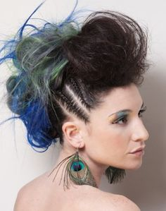 Long updo with color Mohawk Hairstyles