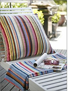 Beach towel cushions for your outdoor furniture.