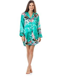 Ashford & Brooks Women's Satin Long Sleeve Night Shirt - Peacock Aqua - X-Large. Lightweight silky smooth satin printed pajama nighshirt. Notch collar button down nightie top with contrast color satin trim. Long sleeve shirt with chest slip pocket and button closure at cuffs. Classic shirt style hem, Approximately 34.5 inches from shoulder to hem. Care Instructions: Machine wash cold, Tumble dry low.