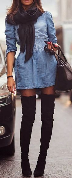 fall outfit ideas / chambray dress + black scarf