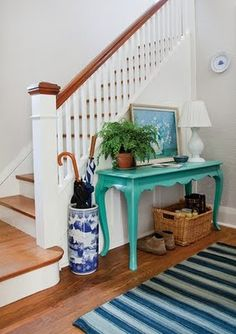 I need a piece of turquoise furniture in my life (thinking of a lingerie chest that could be moved into the living or passthru area would work!)