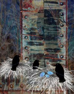The Waiting #iphoneart #digitalart #digitalcollage #appart #ravens #nests #eggs #art #family