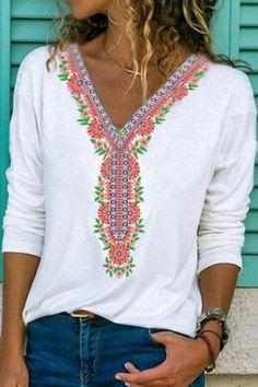 Floral Print Paneled V-neck Long Sleeves Casual T-shirt - Shopingnova