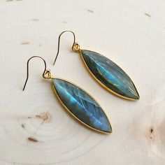 Marquis Labradorite Earrings - Hypoallergenic by MissEleniousBoutique on Etsy