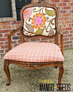 Could this get any cuter? @Kathy @ THREE MANGO SEEDS shows you how to reupholster a chair with @HGTV HOME fabric!