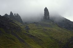DESPITE STRAIGHT LINES posted a photo:  Photograph taken at an altitude of Three hundred and thirty one metres in the magic of a rainy and misty Golden Hour around sunrise at 05:00am on Monday 25th May 2015 off the A855 close to The Storr, showing The old man of Storr, on the Isle of Skye, Scotland.  The Storr (Gaelic: An Stòr), is a rocky hill on the Trotternish Peninsula on the Isle of Skye with a steep rocky eastern face overlooking the Sound of Raasay, contrasting with gentler grassy…