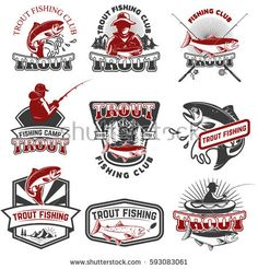 Set of trout fishing emblems isolated on white background. Design elements for logo, label, poster, t-shirt. Vector illustration.