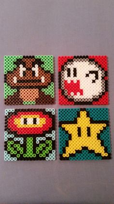 Mario Perler Bead Coasters by AshMoonDesigns on Etsy Perler Beads, Hama Beads Mario, Fuse Beads, Perler Bead Designs, Perler Bead Templates, Hama Beads Design, Melty Bead Patterns, Pearler Bead Patterns, Perler Patterns