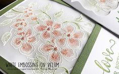 White embossing on vellum. Stamp and heat-emboss the image on vellum, then watercolors the image