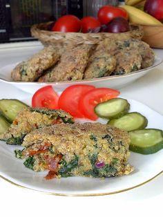 WEGANIZM UDOMOWIONY: Kotleciki quinoa z suszonymi pomidorami i szpinaki...