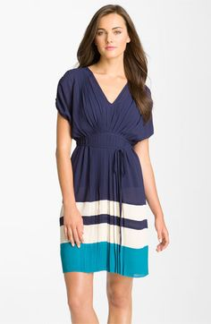 Taylor Dresses Center Pleat Colorblock Crepe Dress available at Nordstrom