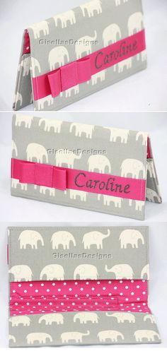 Personalized Grey and Hot Pink Checkbook cover, custom made to specification.