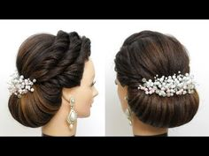 Hair tutorial with new wedding bun hairstyle for girls. This bridal hairstyle for long hair look especially beautiful with the right decorations. Quick Braided Hairstyles, Indian Wedding Hairstyles, Bun Hairstyles For Long Hair, Bride Hairstyles, Hairstyles For Ladies, Simple Hairstyles, Bridal Hair Buns, New Bridal Hairstyle, Bridal Updo