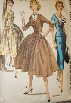 Vintage 1950s McCalls 3458 Full or Slim Wiggle Skirt Dress Pattern 32B sz 14