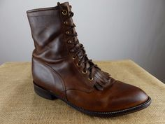 JUSTIN Ranch Horse Packer Logger Brown Leather Boot Men 10.5 EE X Wide Vintage #JustinBoots #PackerHorseBoots