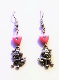 Pink Heart Shaped beaded Puppy Dog Earrings, Charm, Pet Lover , Jewelry, Stocking Stuffer, Christmas Gift,  Beaded Pendant