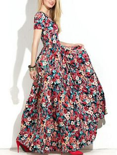 Short Sleeve Florals Hollow Maxi Dress