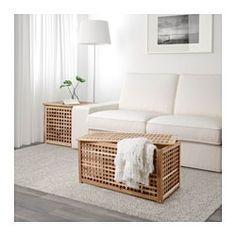 IKEA - HOL, Mesa de almacenaje, La madera maciza es un material natural muy duradero.Almacenaje práctico en la mesa.