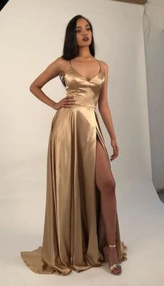 Sexy Prom Dress with Slit, Evening Dress ,Winter Formal Dress, Pageant Dance Dresses, Graduation School Party Gown - Proom Dress Grad Dresses, Pageant Dresses, Dresses For Teens, Dance Dresses, Dress Outfits, Fashion Dresses, Emo Outfits, Dress Prom, Prom Dresses Tumblr