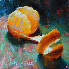Citrus on Green by Elena Katsyura Oil ~ 6 x 6 Still Life Oil Painting, Fruit Painting, Orange Art, Southwest Art, Fine Art Auctions, Still Life Art, Fruit Art, Outdoor Art, Watercolor Illustration